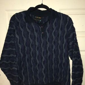 Men's Coogi collared sweater blue and green